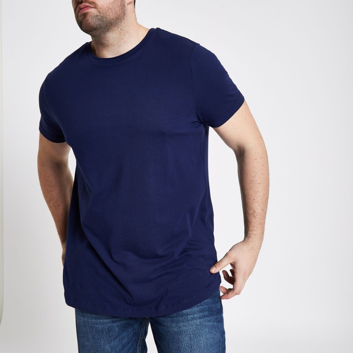 Big and Tall - Marineblauw T-shirt met ronde zoom