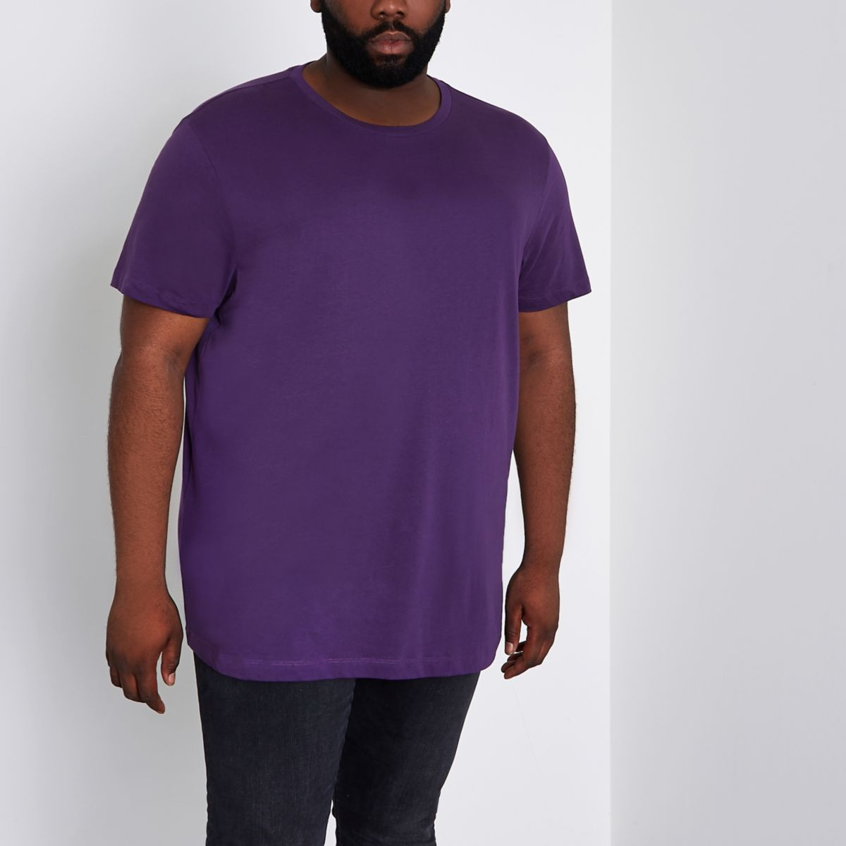 Big and Tall purple curved hem T-shirt