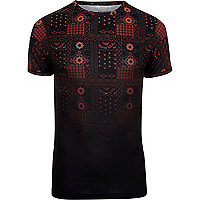 Black tile print fade muscle fit T-shirt