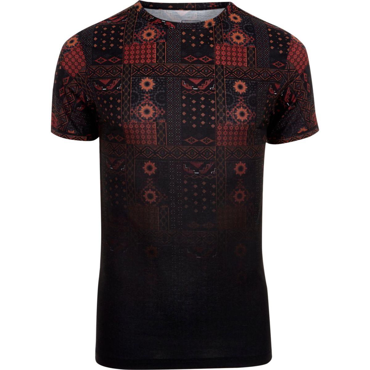 T-shirt ajusté à imprimé mosaïque noir délavé