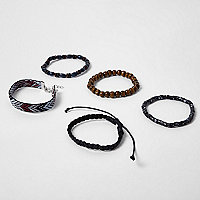 Black bead bracelet multipack