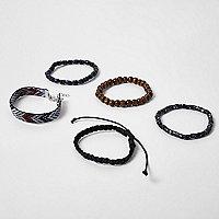 Black bead bracelet multipack