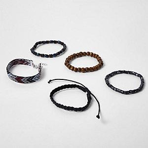 Lot de bracelets noirs avec perles