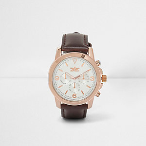 Brown round rose gold tone case watch