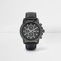 Black round gunmetal tone case watch