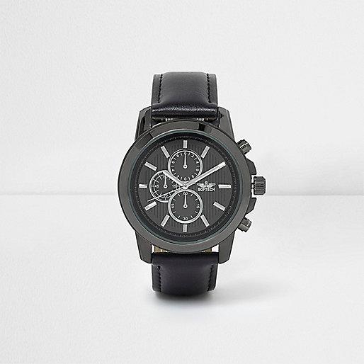 Black round gunmetal tone case watch
