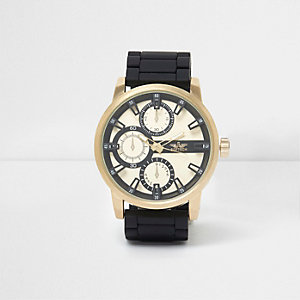 Black chain link gold tone case watch