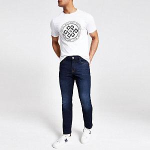 Dylan - Donkerblauwe vervaagde slim-fit jeans