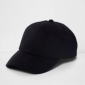 Black twill baseball cap
