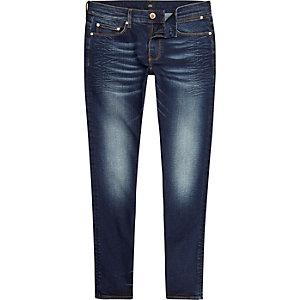 Dark blue Sid creased skinny jeans