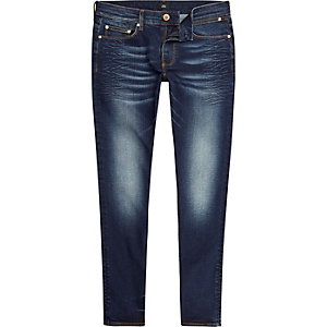 Sid - Donkerblauwe gekreukte skinny jeans