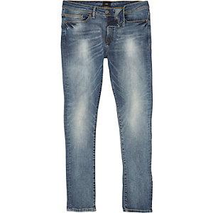 Danny – Mittelblaue, ausgebleichte Super Skinny Jeans