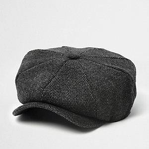 Grey herringbone baker boy hat