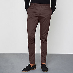 Burgundy skinny fit chino pants