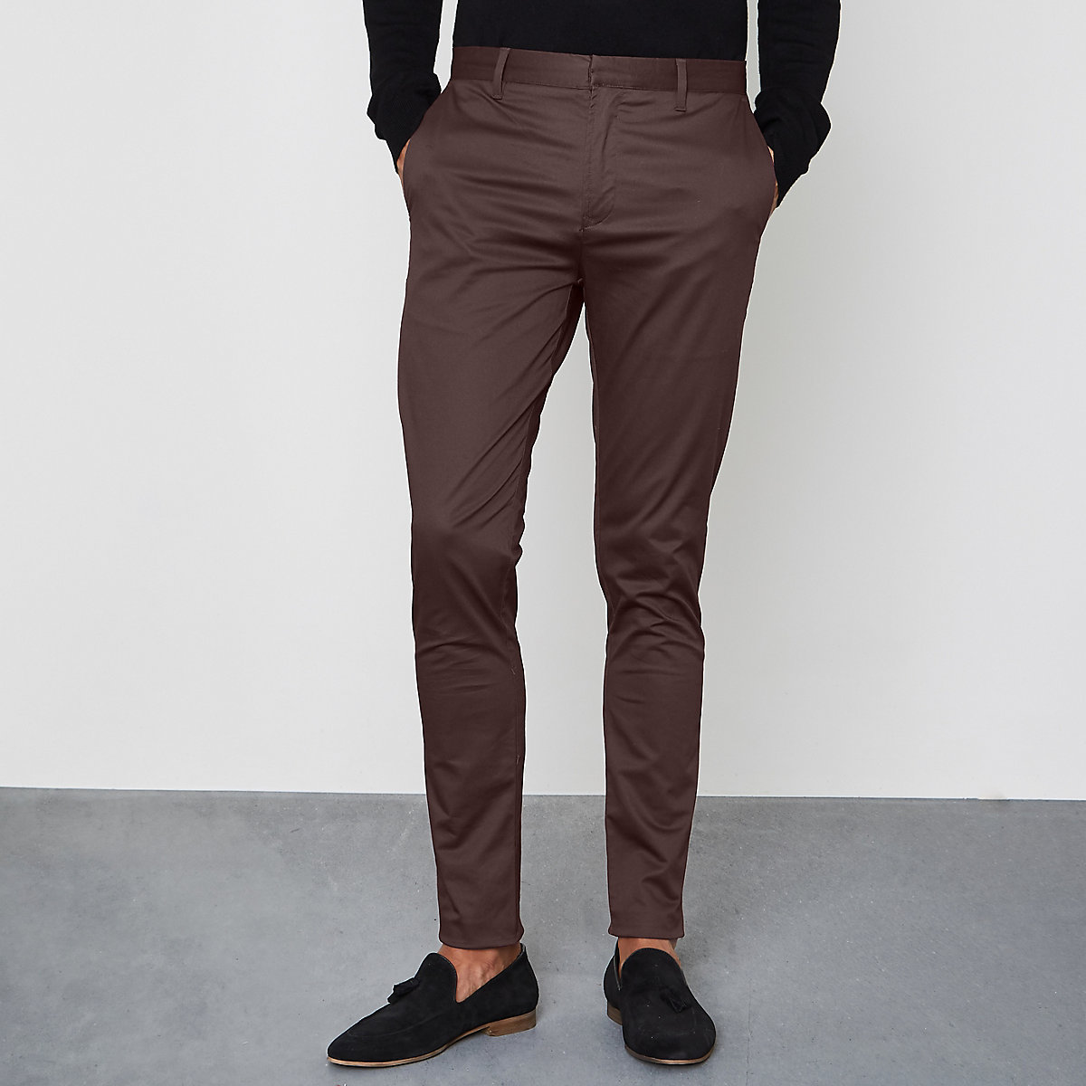 Burgundy skinny fit chino trousers
