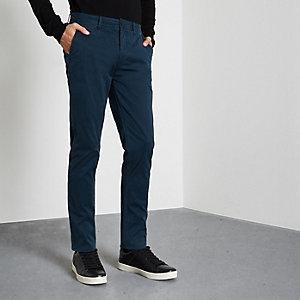 Pantalon chino skinny bleu canard