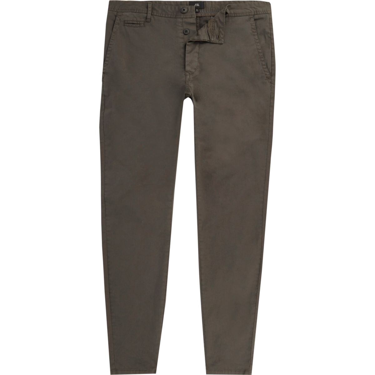 Dark grey super skinny fit chino trousers
