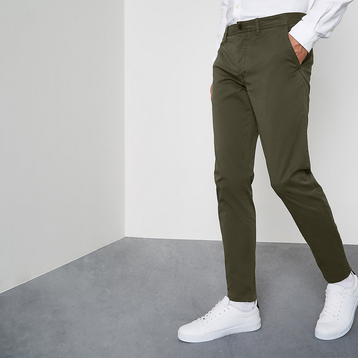 Dark green super skinny chino trousers