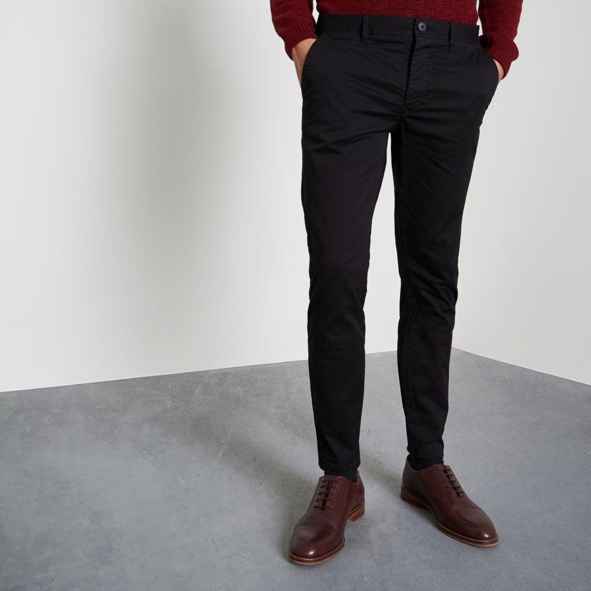 Black super skinny chino trousers