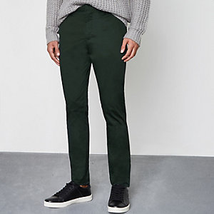 Green skinny ankle grazer chino trousers