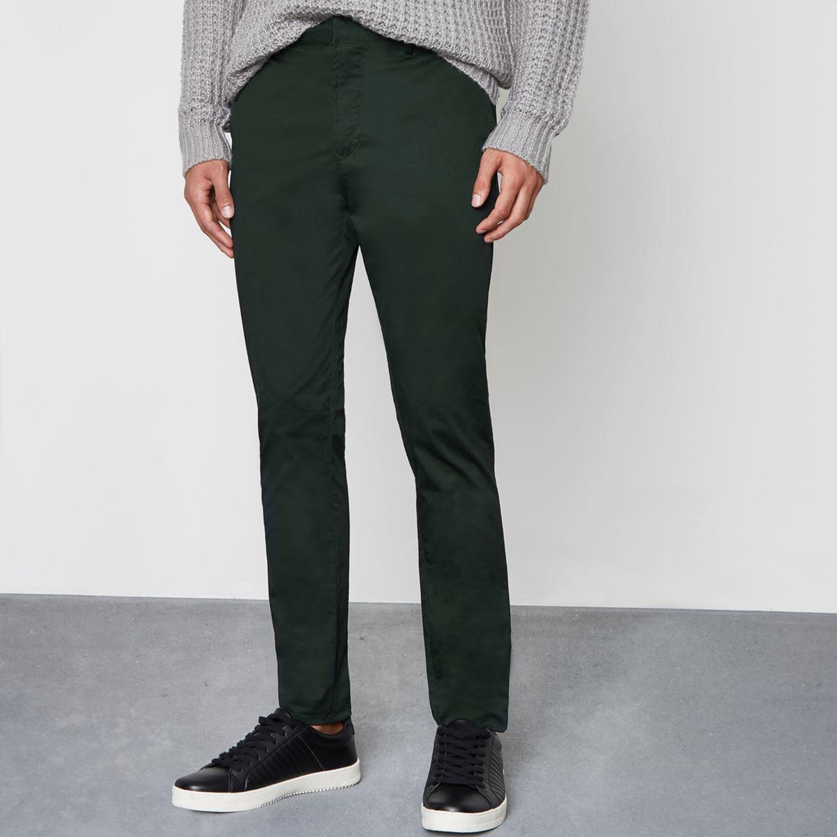 Green skinny chino pants