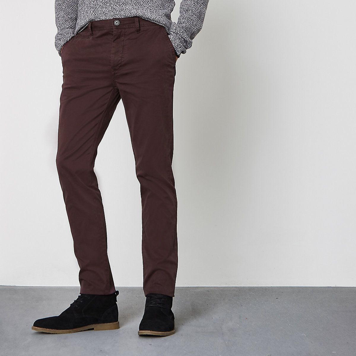 Dark red skinny chino trousers