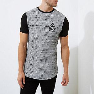 Grijs gemêleerd aansluitend lang T-shirt met ribbels