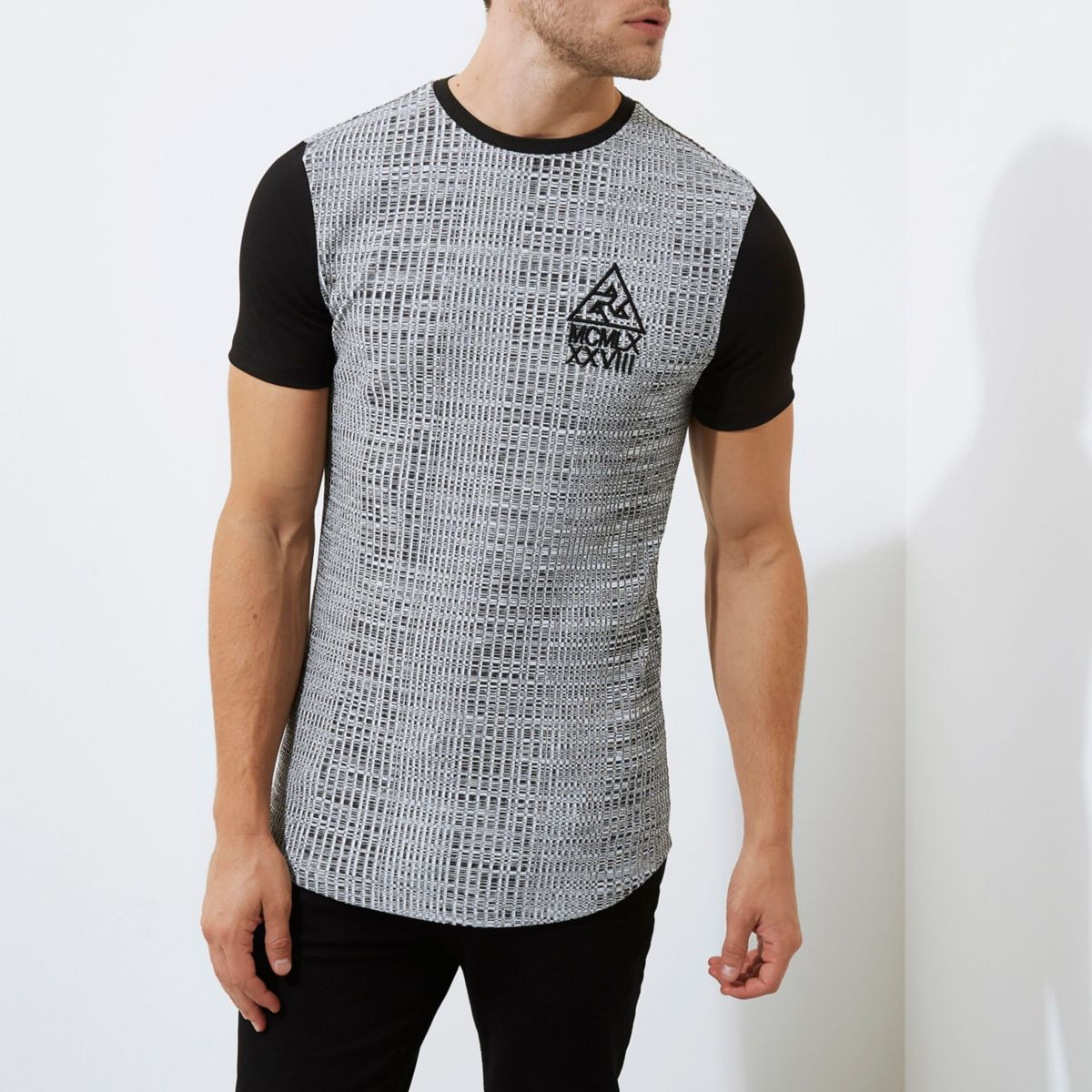 Concept grey muscle fit longline T-shirt
