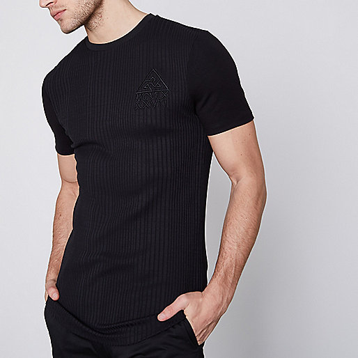 Black rib muscle fit longline T-shirt