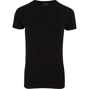 Black extreme muscle fit crew neck T-shirt