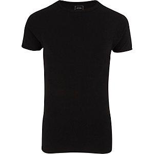 Zwart extreem aansluitend T-shirt met ronde hals
