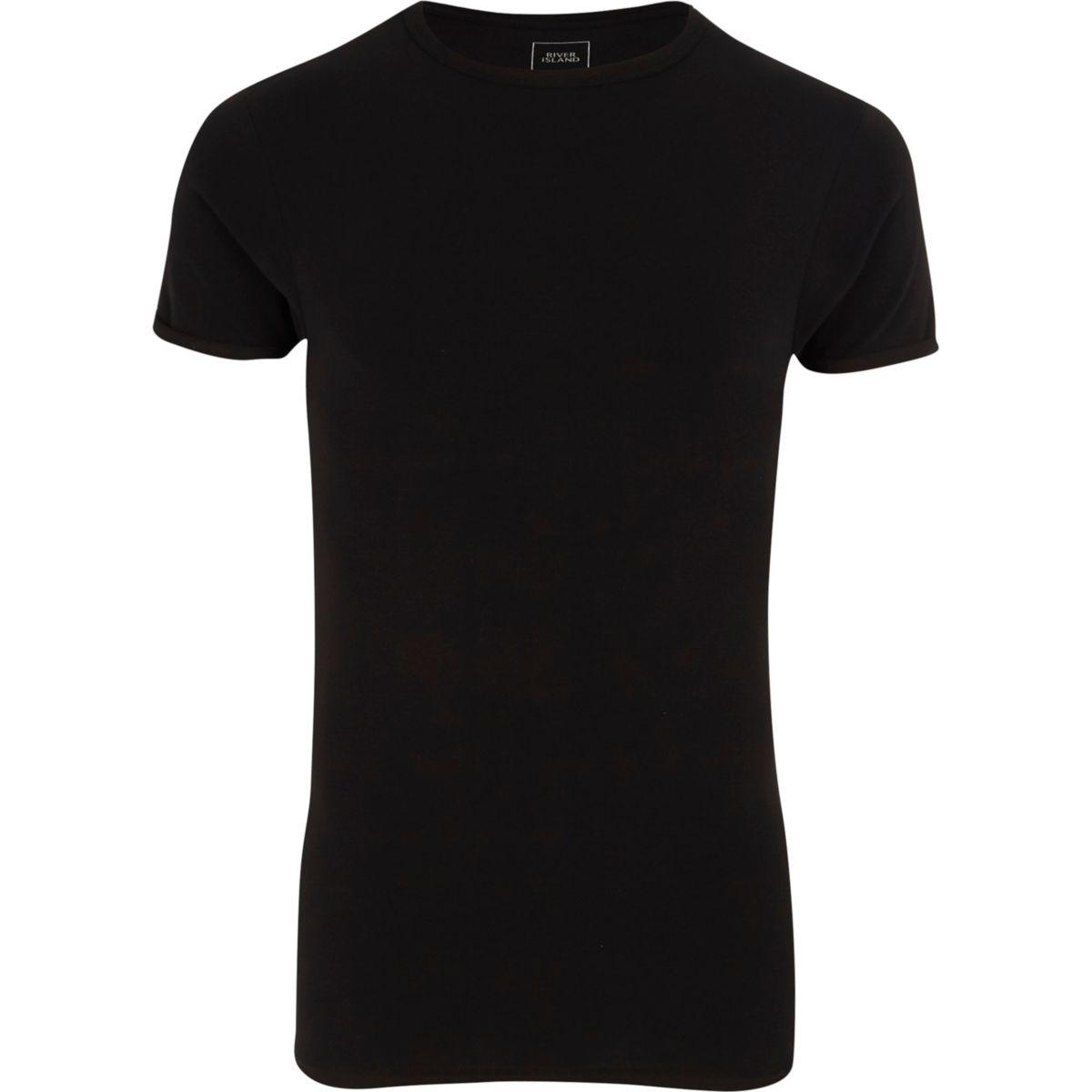 T-shirt très ajusté ras-du-cou noir