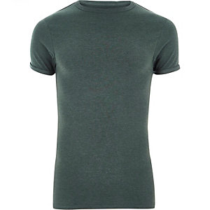 Dark green extreme muscle fit T-shirt