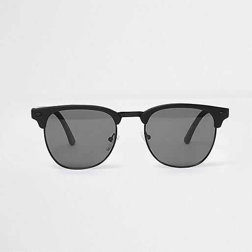 Black matte half frame smoke lens sunglasses