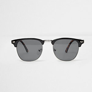 Black half frame retro smoke lens sunglasses