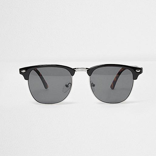 Black half frame retro smoke lens sunglasses