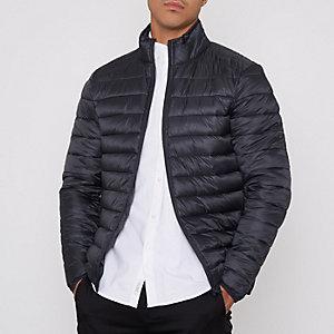 Dark grey funnel neck puffer jacket