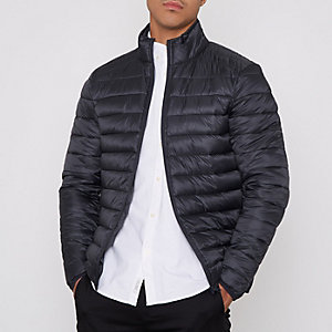 Dark grey funnel neck puffer jacket