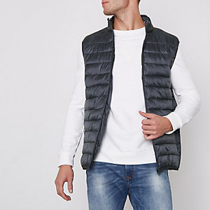 Grey funnel neck puffer vest