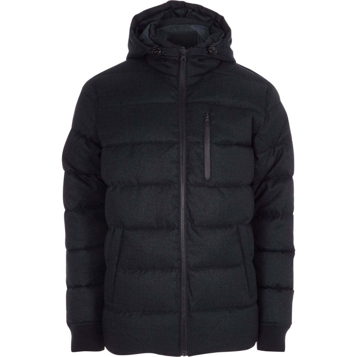Big and Tall navy padded hooded jacket
