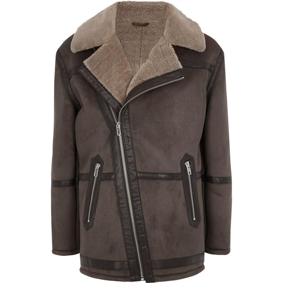 Dark brown fleece lined biker jacket
