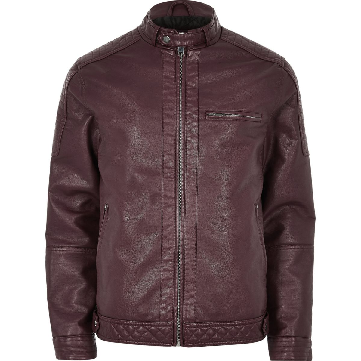 Big and Tall red faux leather racer jacket