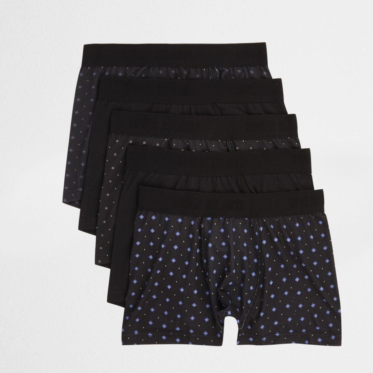 Multipack zwarte strakke boxers met geometrische print