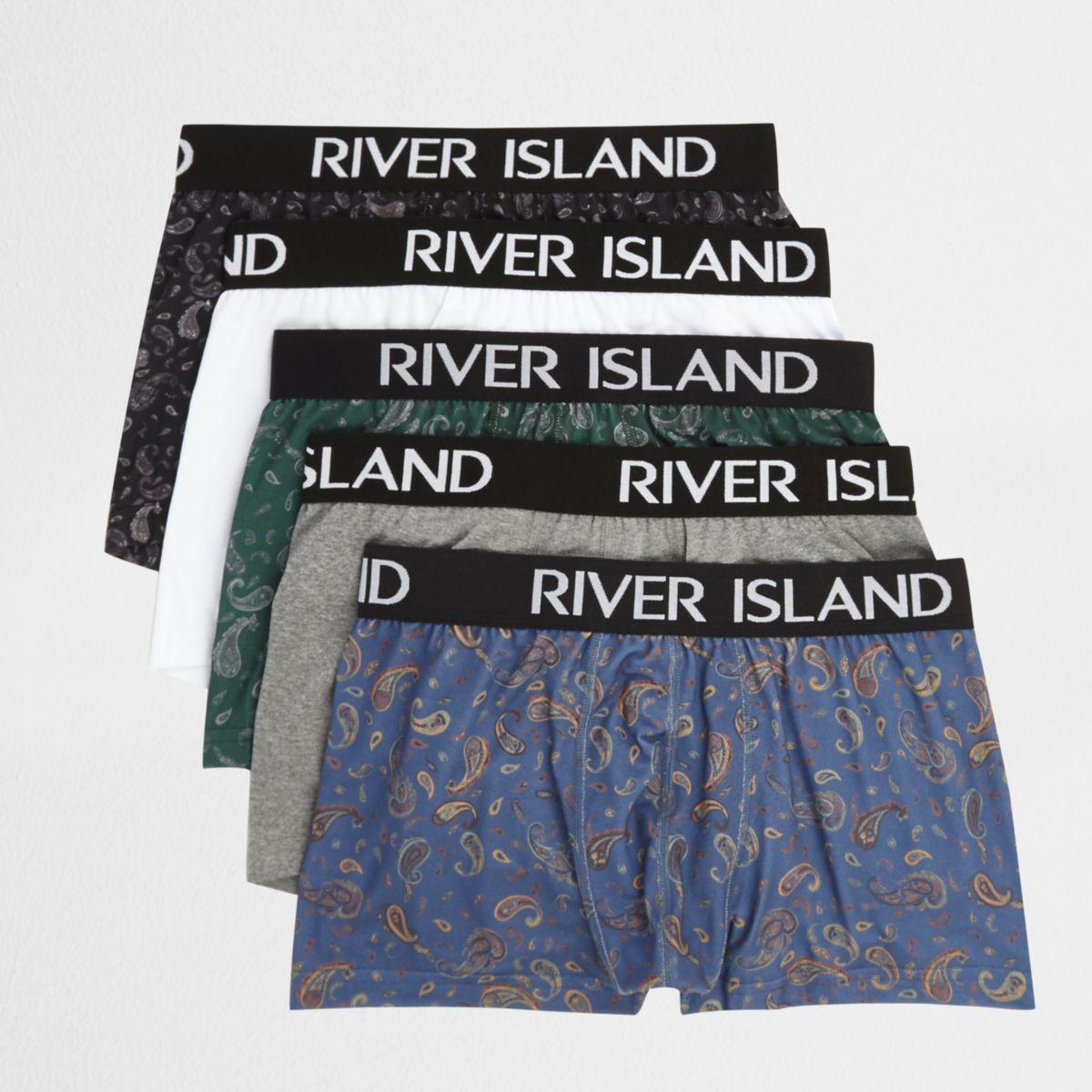 Blaue Hipster-Slips mit Paisley-Print, Set