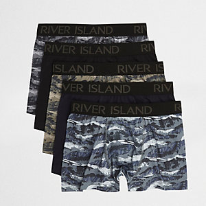 Multipack donkergroene strakke boxers met camouflageprint