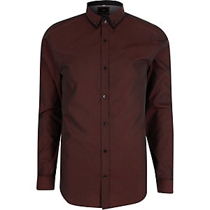 Purple slim fit double collar shirt