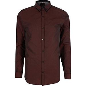 Chemise slim violette à col double
