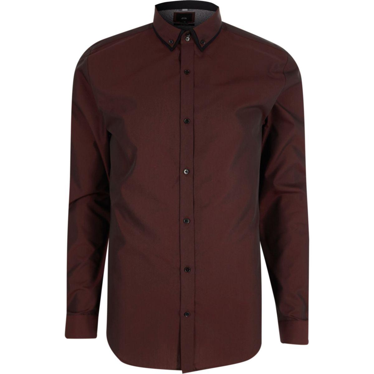 Purple slim fit double collar shirt