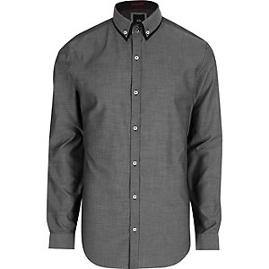 Big and Tall – Chemise grise à col double