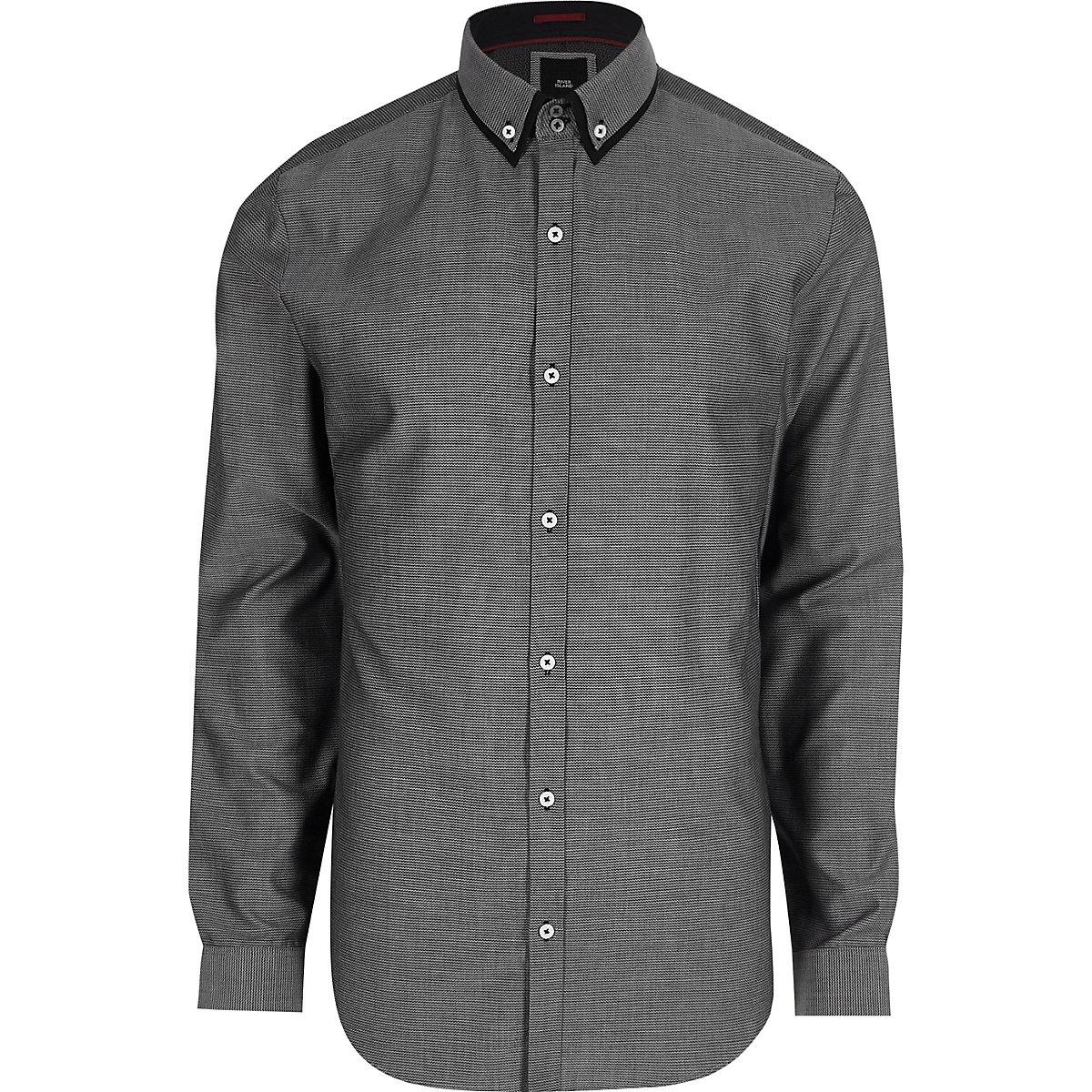 Big and Tall grey double collar shirt